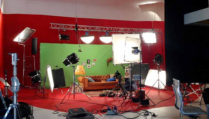Film licht set green screen chromakey met rode achtergrond